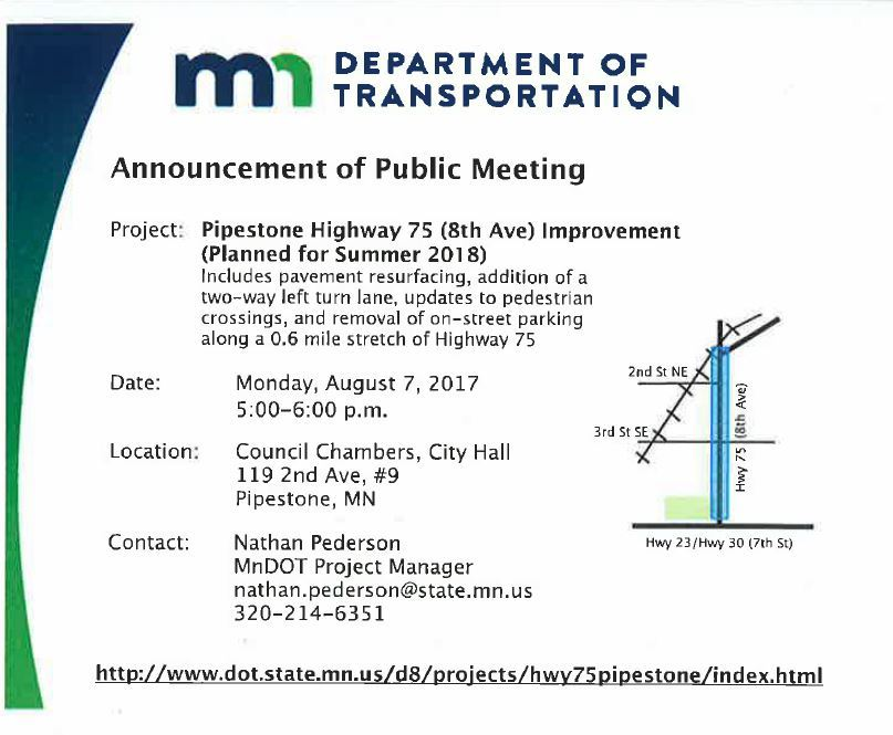 Public Meeting-Pipestone Hwy 75 2018 Project