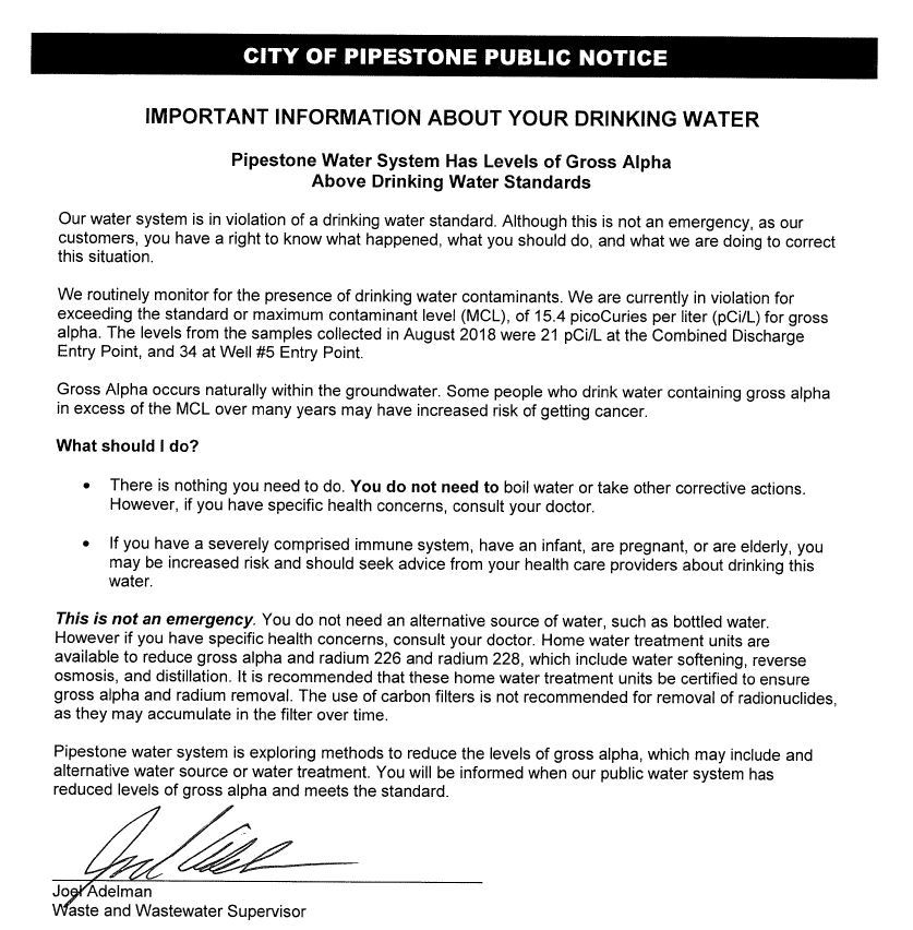 Public Hearing Notice-Drinking Water